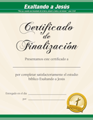 Lifting Up Jesus Spanish Certificate of Completion
